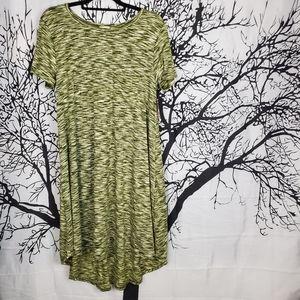 LuLaRoe Carly Dress Ol9ve Green & White Large